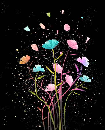 Floral design on dark background. Vector design. 矢量图像