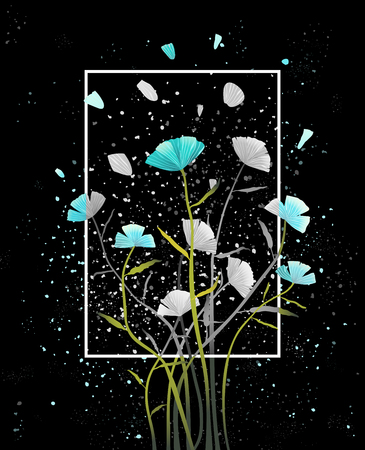 Colorful abstract floral design on dark background. Vector design. Illustration
