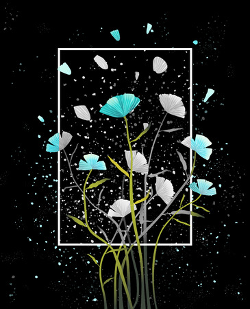 Colorful abstract floral design on dark background. Vector design. Stock Photo