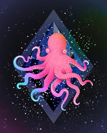 Animal marin sur fond de cosmos noir avec des étoiles et des gemmes. Conception de vecteur. Banque d'images