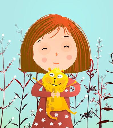 Cute little kid with hamster pet. Vector illustration.