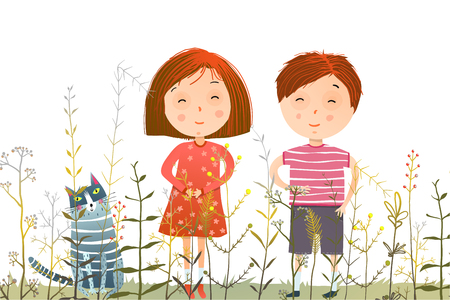 Young kids and domestic cat in the grass cartoon. Vector illustration.