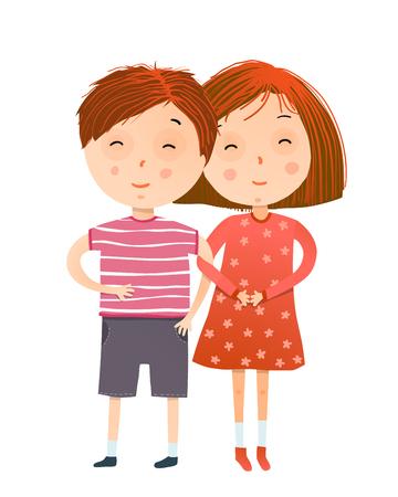 Amicizia di bambini piccoli, un ragazzo carino e una ragazza adorabile. Illustrazione vettoriale. Vettoriali
