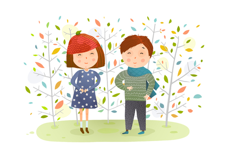Young kids and fall nature cartoon. Vector illustration. Illustration