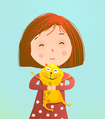 Cute little kid with guinea pig pet. Vector illustration.