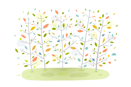 Hand drawn cartoon graphic forest trees background. Vector illustration.