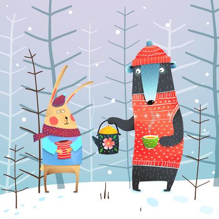Fun friends with hot tea in winter. Vector cartoon. Foto de archivo - 108184738