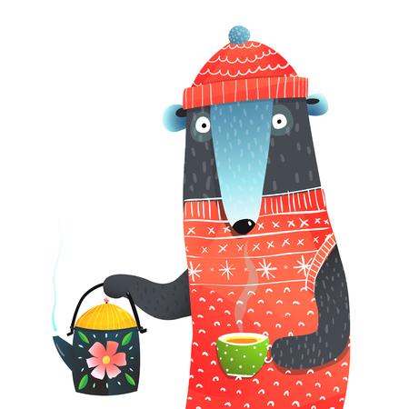 A bear with teapot funny illustraion. Vector cartoon. Archivio Fotografico - 108184739
