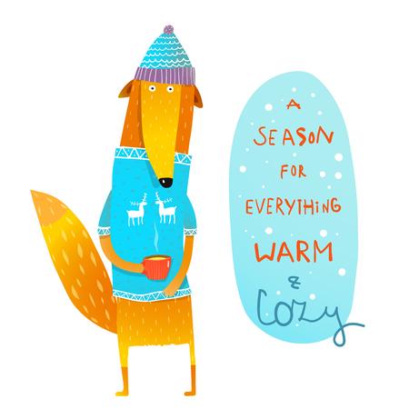 Funny fox drinking tea and winter quote. Vector cartoon. Foto de archivo - 108184740