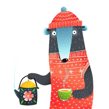 A bear with teapot funny illustraion. Vector cartoon. Archivio Fotografico - 108184742