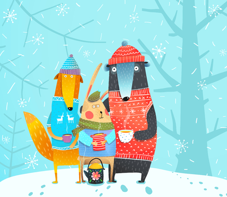Rabbit, fox and bear in the forest. Vector cartoon.