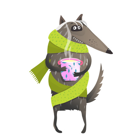 Fun wild animal wearing clothes with a cup of tea..