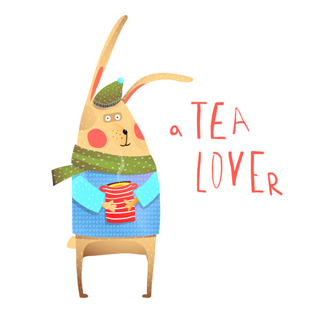Character animal with tea cup and clothes winter season.