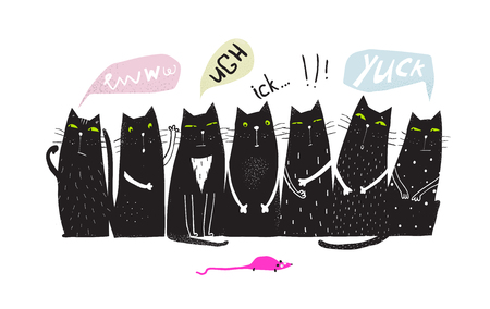 Fun black group of Cats sitting looking mouse. Archivio Fotografico - 111803948