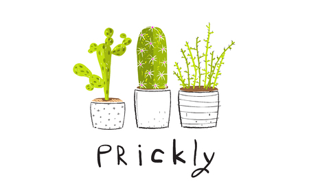 Cactus succulent cute collection design with lettering.