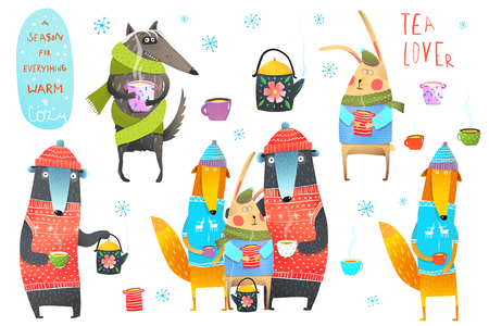 Seasonal winter clip art collection with animals and tea cups. Illustration