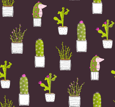 Cactus succulents and Hedgehog cute background print pattern.