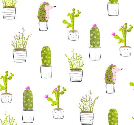 Cactus succulent plants cute background print pattern.