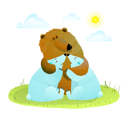 Brown bear hugging little white bear cubs. Illustration