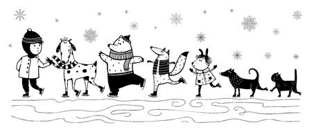 Monochrome vintage cartoon kid and animals in winter.