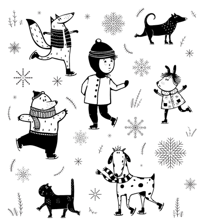 Monochrome ski animals monichrome winter characters set. Vectores