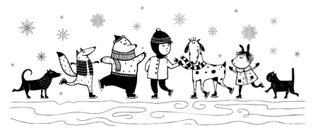 kid and animals in winter skiing Monochrome Black and White vintage cartoon Banco de Imagens - 110406380