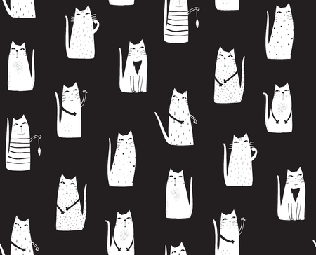 Hand drawn cats seamless pattern graphic backdrop.