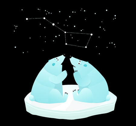 Constellation of the great bear and polar bears looking. Illustration