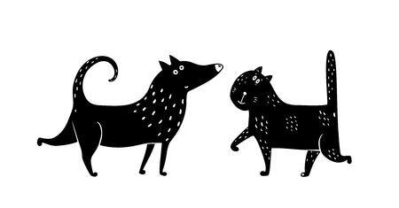 Domestic animals cat and dog monochrome design. Vector illustration.