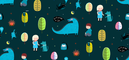 Kids drawing background print pattern with dinosaur and characters. Vecteurs