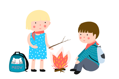 Children summer camp with fire and bagpacks Vectores