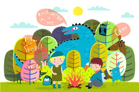 Magische Waldkinder, die mit Tieren im Wald campen.