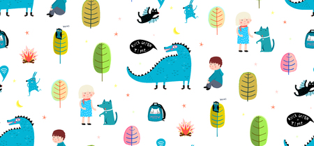 Kids drawing background print pattern with dinosaur and characters. Illusztráció
