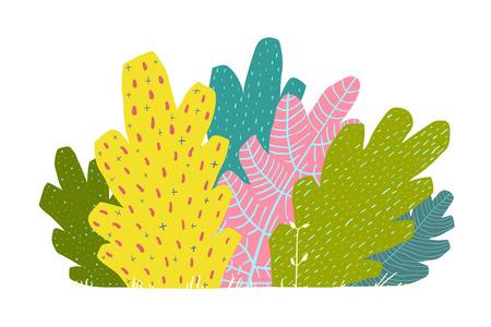 Bush or forest cartoon colorful colored illustration. Banco de Imagens