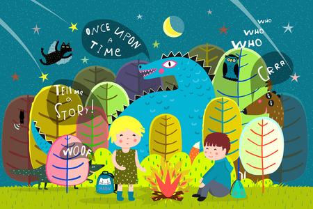 Enfants de la forêt magique campant la nuit avec des animaux de contes de fées.