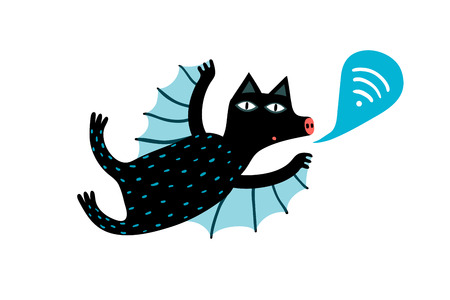 Flying cute sending wifi sign bat animal. Banco de Imagens