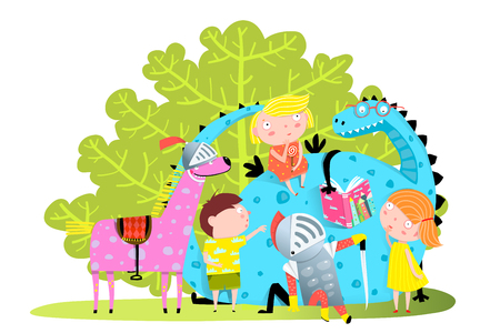 Fun Group of little kids playing with magic dragon. Stock Illustratie