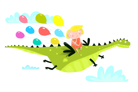 Magic cute dragon flying over the forest with kid sitting holding balloons.