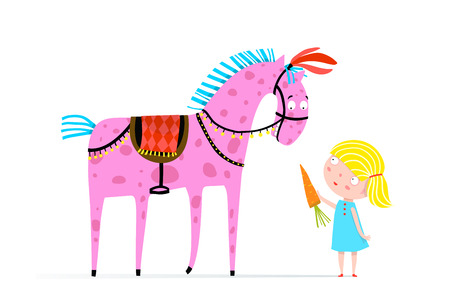 Funny little kid girl feeding a horse. Vector cartoon.
