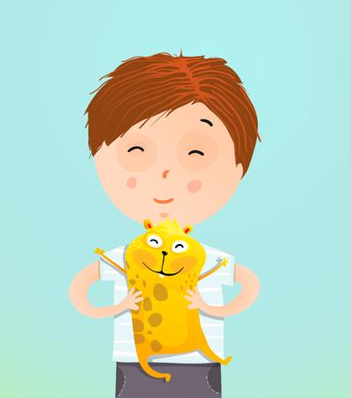 Boy Holding Guinea Pig Фото со стока
