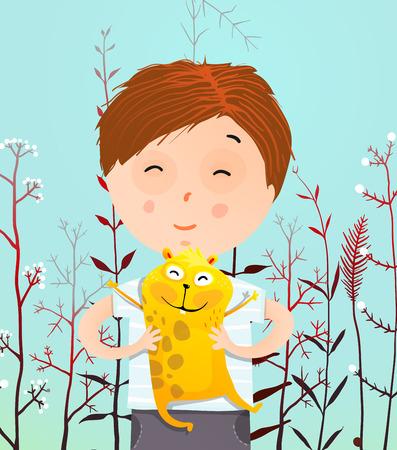 Boy holding hamster