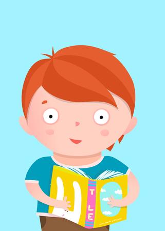 Little boy standing with book greeting card design. Vector cartoon. Stock Illustratie
