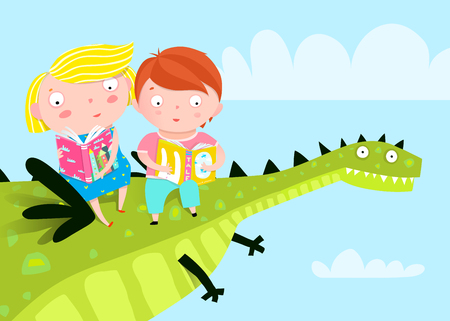 Cute kids sitting on the dragon flying in the sky and reading fairy tale books