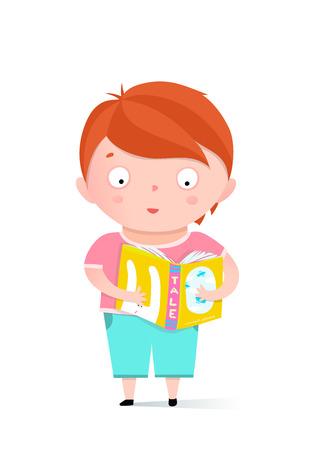 Little boy reading fairy tale book