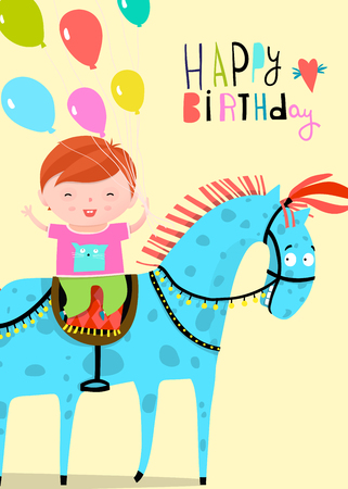 Happy Birthday Greeting with boy riding on the horse holding colorful balloons 스톡 콘텐츠 - 110613265