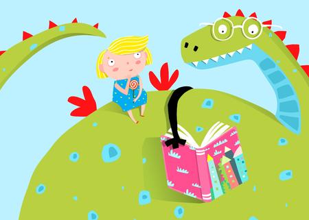 Dragón de cuento de hadas leyendo un libro a una niña de dibujos animados para niños.