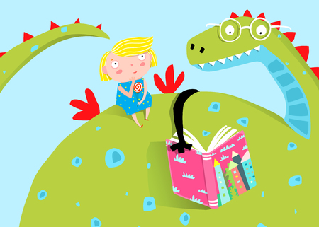 Big Dragon Reading Book to Little Girl. Fairy tale dragon reading a book to a girl child cartoon. Banco de Imagens