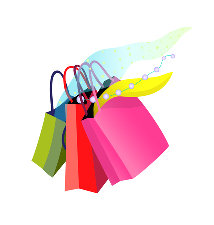 Shopping bags with purchase. Colorful shop woman paper bags with jewellery.