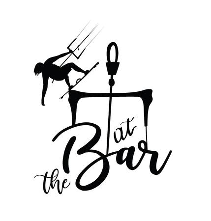 Kite surfer at the bar design for t-shirt or icon. Illustration