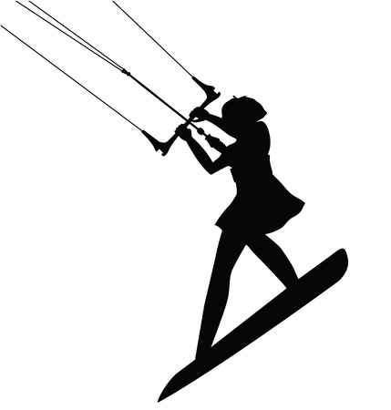 Kitesurfing Sport female silhouette in action isolated. Vector design. Ilustrace
